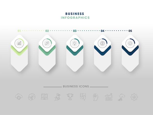Diseño de plantilla de infografías de negocios de cinco pasos Vector Premium