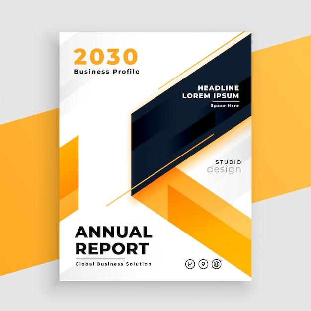 Diseño de plantilla de informe anual de folleto comercial amarillo vector gratuito
