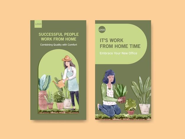 El diseño de la plantilla de instagram con personas trabaja desde el hogar y el jardín, plantas verdes. ilustración de vector de acuarela de concepto de oficina en casa vector gratuito
