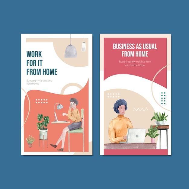 El diseño de la plantilla de instagram con personas está trabajando desde casa. ilustración de vector de acuarela de concepto de oficina en casa vector gratuito
