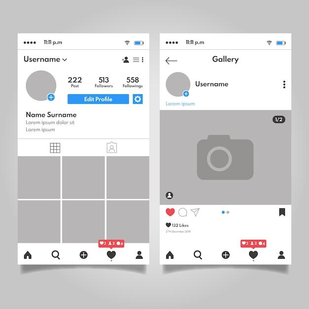 Diseño de plantilla de interfaz de perfil de instagram vector gratuito