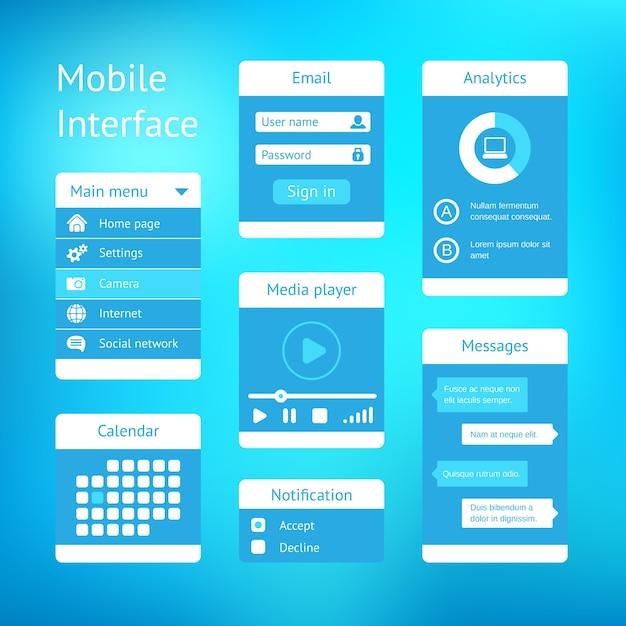 Diseño de plantilla de interfaz de usuario de vector para aplicaciones móviles vector gratuito