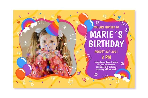 Diseño de plantilla de invitación de cumpleaños para niños vector gratuito