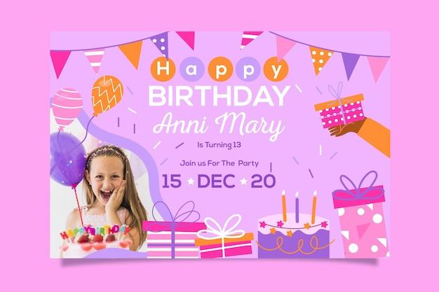 Diseño de plantilla de invitación de feliz cumpleaños Vector Premium