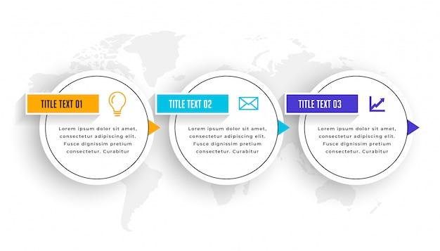 Diseño de plantilla de línea de tiempo de elementos infográficos de tres pasos vector gratuito