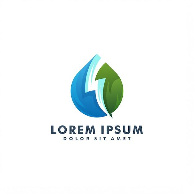 Diseño de plantilla de logotipo de energía de agua Vector Premium