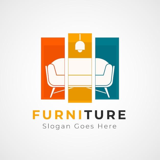 Diseño de plantilla de logotipo de muebles Vector Premium