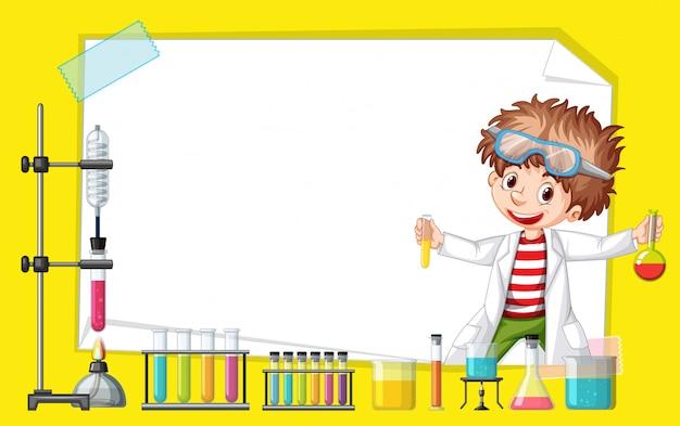 Diseño de plantilla de marco con niño en laboratorio de ciencias vector gratuito