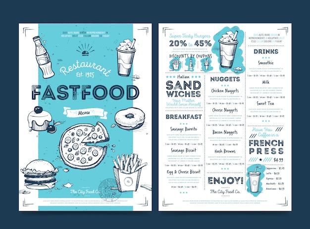 Diseño de plantilla de menú de cafetería restaurante, vector Vector Premium