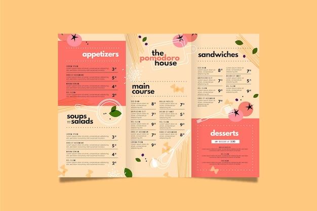 Diseño de plantilla de menú de comida vector gratuito
