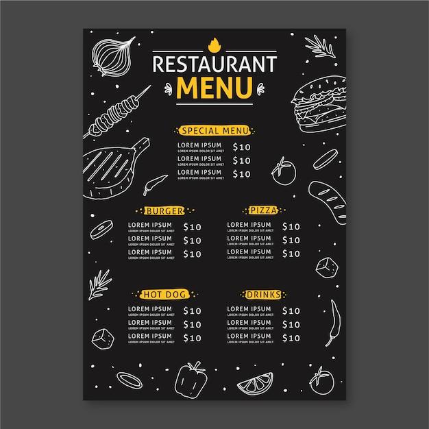 Diseño de plantilla de menú de restaurante vector gratuito