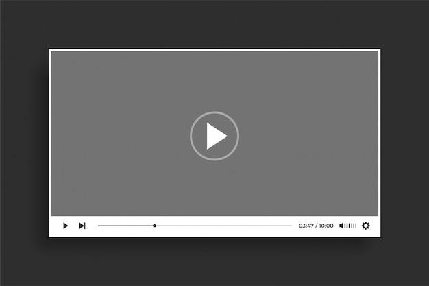 Diseño de plantilla moderna de reproductor de video blanco estilo plano vector gratuito
