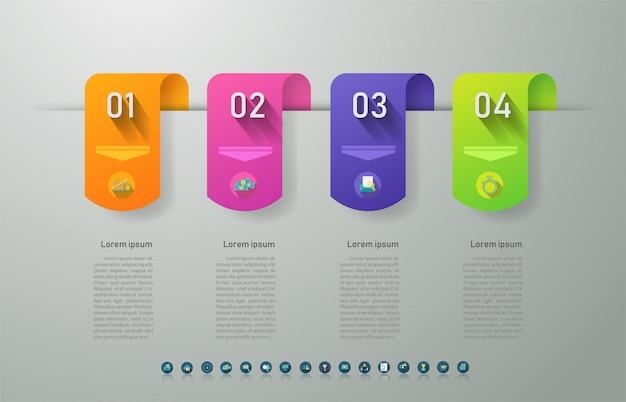 Diseño de plantilla de negocio 4 opciones elemento de gráfico infográfico. Vector Premium