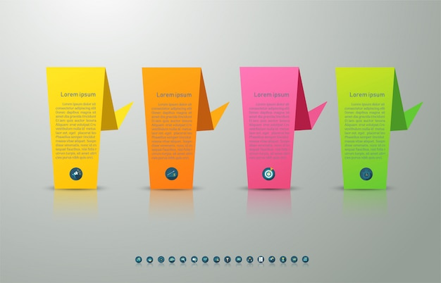Diseño de plantilla de negocio 4 opciones o pasos elemento gráfico infográfico. Vector Premium