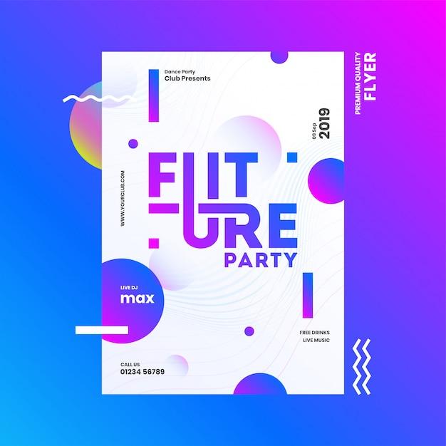 Diseño de plantilla o folleto de future party con detalles de hora, fecha y lugar en el fondo abstracto. Vector Premium