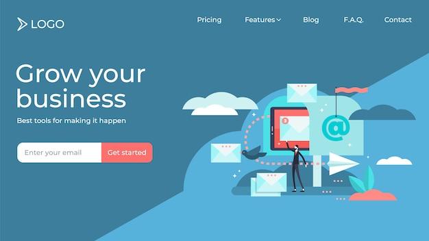 Diseño de plantilla de página de destino de ilustración de vector de persona pequeña plana de marketing por correo electrónico Vector Premium