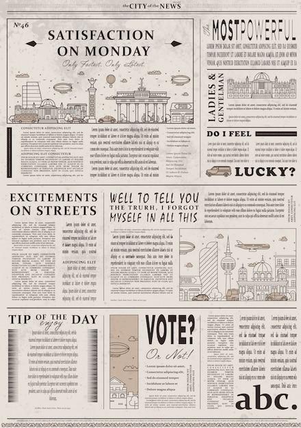 Diseño de plantilla de periódico vintage antiguo Vector Premium
