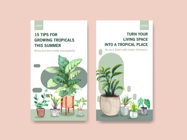 Diseño de plantilla con plantas de verano y plantas de interior para redes sociales, comunidad en línea, internet y publicidad de ilustración de acuarela vector gratuito