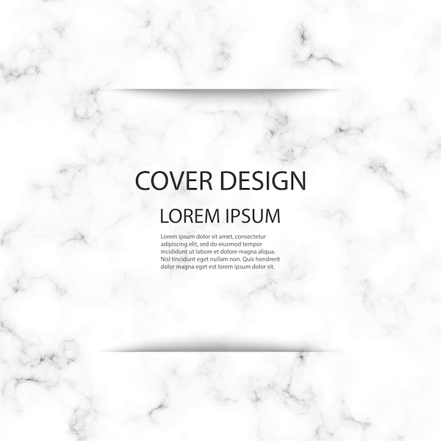 Diseño de plantilla de portada con fondo de mármol blanco y gris. Vector Premium