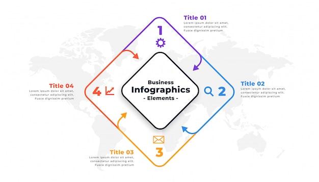 Diseño de plantilla de presentación de informe infográfico de cuatro pasos vector gratuito