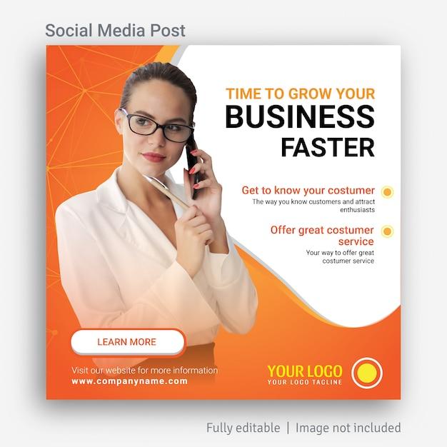 Diseño de plantilla de publicidad de publicación de redes sociales de crecimiento empresarial Vector Premium