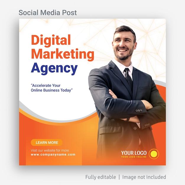 Diseño de plantilla de publicidad de publicación de redes sociales de marketing digital Vector Premium