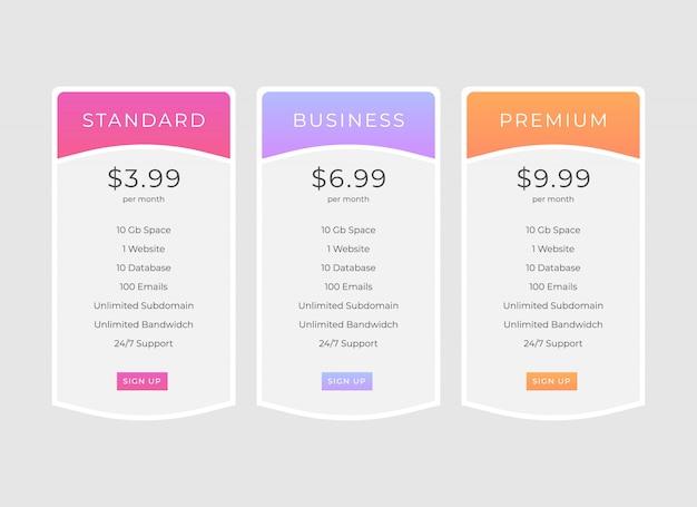 Diseño de plantilla de tabla de precios Vector Premium