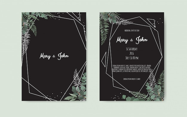 Diseño de plantilla de tarjeta de invitación de boda botánica Vector Premium