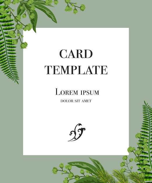 Diseño de plantilla de tarjeta con marco blanco y verde sobre fondo gris. vector gratuito
