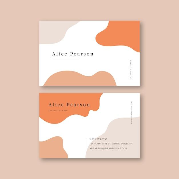 Diseño de plantilla de tarjeta de visita con manchas de color pastel vector gratuito