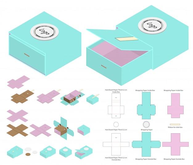 Diseño de plantilla troquelada caja de embalaje Vector Premium
