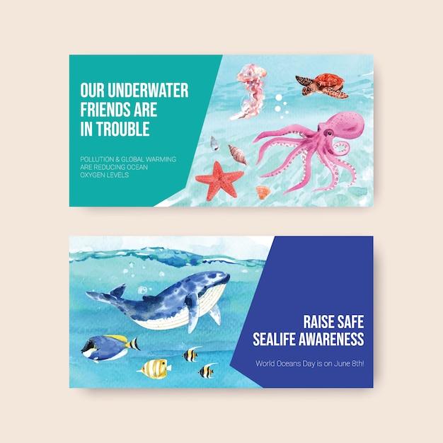 Diseño de plantilla de twitter para el concepto del día mundial de los océanos con animales marinos, ballenas, tortugas, estrellas de mar y vectores de acuarela de pulpo vector gratuito