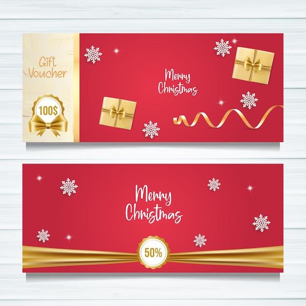 Diseño de plantilla de vale de regalo de feliz navidad. Vector Premium