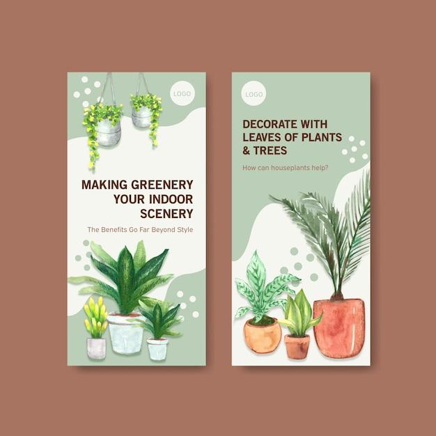Diseño de plantilla de volante de plantas de verano para folleto, folleto, publicidad ilustración acuarela vector gratuito