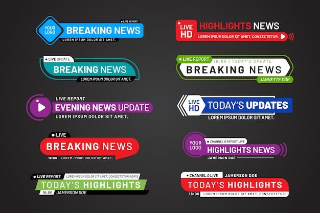 Diseño de plantillas de banners de noticias de última hora vector gratuito