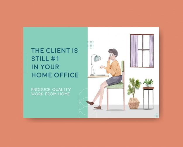 Diseño de plantillas de facebook con personas que trabajan desde casa. ilustración de acuarela de concepto de oficina en casa vector gratuito