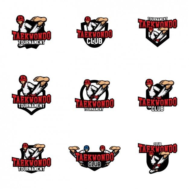 Diseño de plantillas de logos de taekwondo vector gratuito