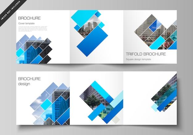 Diseño de plantillas de portadas de formato cuadrado para folleto tríptico Vector Premium