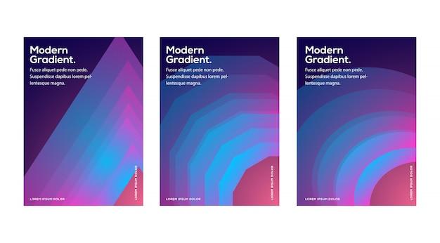 Diseño de plantillas de portadas de moda. vector minimalista cubre diseño. gradientes de semitono fresco Vector Premium