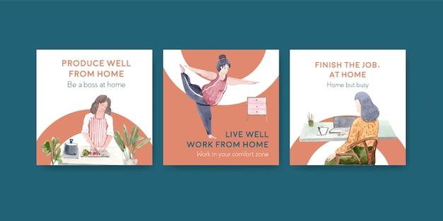 Diseño de plantillas publicitarias con personas que trabajan desde casa y ejercicio. ilustración de vector de acuarela de concepto de oficina en casa vector gratuito