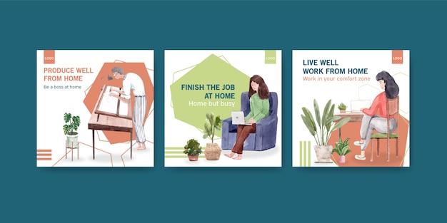 Diseño de plantillas publicitarias con personas que trabajan desde casa. ilustración de vector de acuarela de concepto de oficina en casa vector gratuito