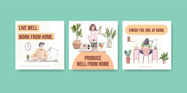 Diseño de plantillas publicitarias con personas que trabajan desde casa y planta verde. ilustración de vector de acuarela de concepto de oficina en casa vector gratuito