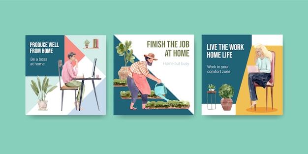 Diseño de plantillas publicitarias con personas que trabajan desde el hogar y plantas verdes. ilustración de vector de acuarela de concepto de oficina en casa vector gratuito