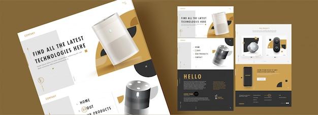 Diseño de plantillas web con productos y detalles electrónicos realistas Vector Premium
