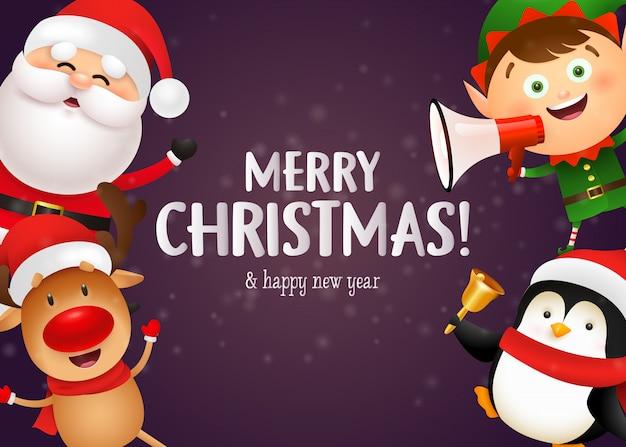 Diseño de postal navideña con lindos renos vector gratuito
