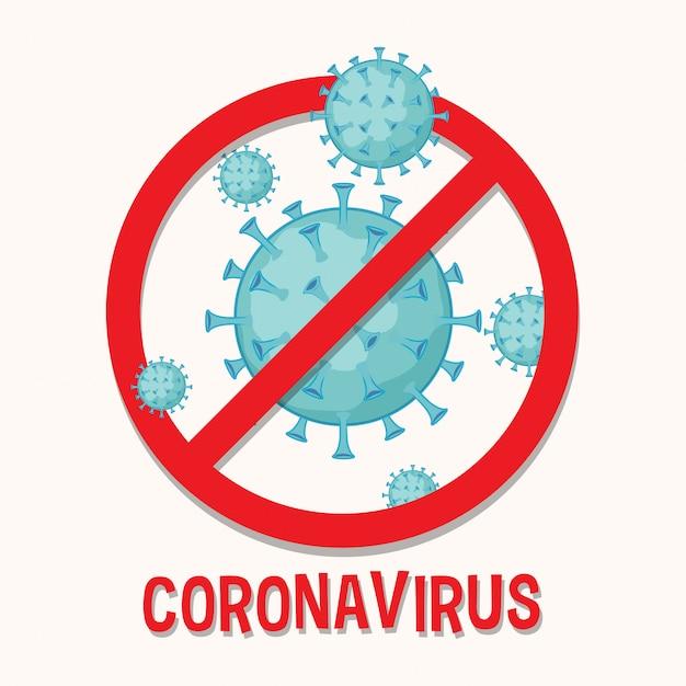 Diseño de póster con célula de coronavirus y señal de stop Vector Premium