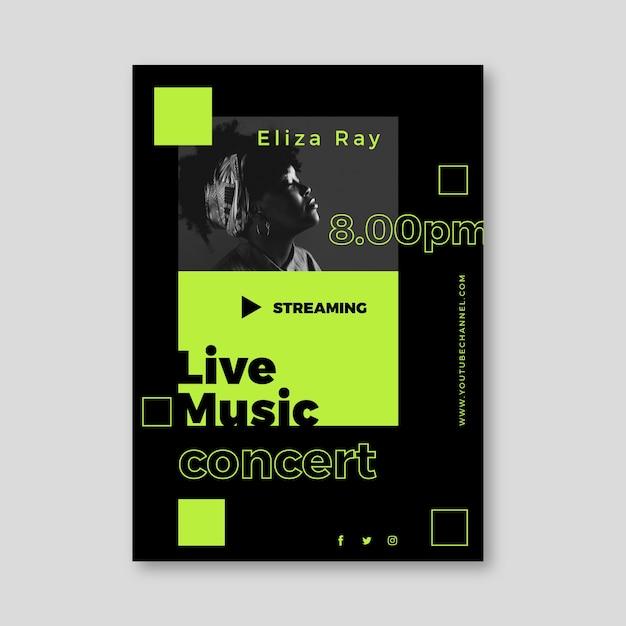 Diseño de póster de concierto de música en vivo vector gratuito