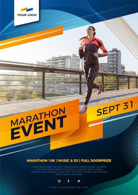 Diseño de póster deportivo para maratón Vector Premium