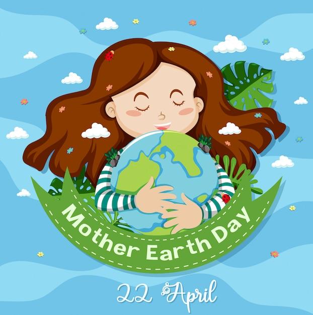 Diseño de póster para el día de la madre tierra con tarjeta de ilustración de niña feliz vector gratuito