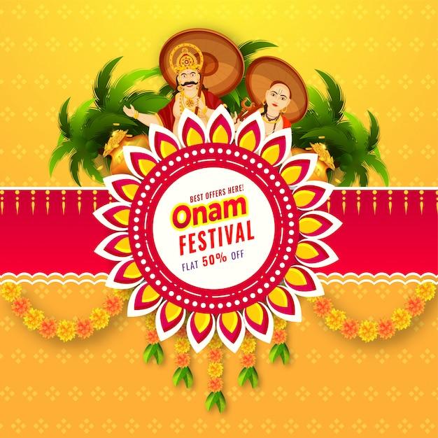 Diseño de póster o plantilla de onam festival sale con oferta de 50% de descuento Vector Premium